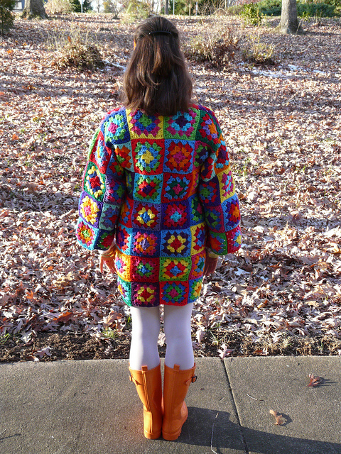 multicolor granny square crochet dress