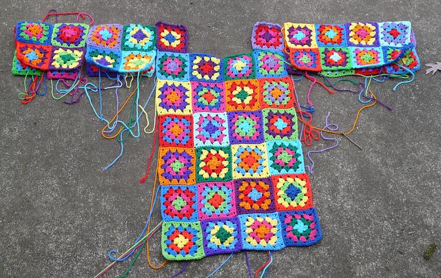 crochetbug, crochet squares, granny squares, crochet dress, mulitcolor