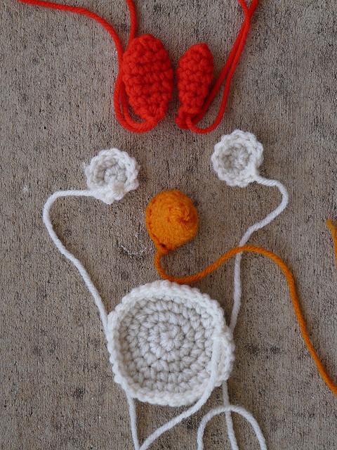 Angry bird crochet cardinal pieces