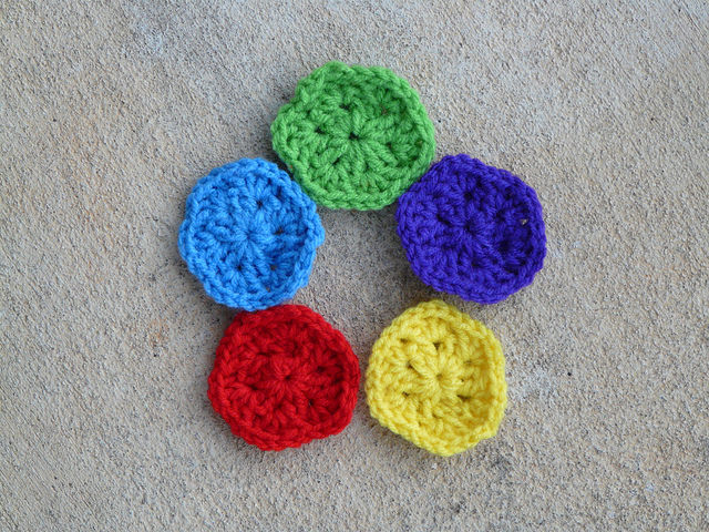 Five crochet hexagons