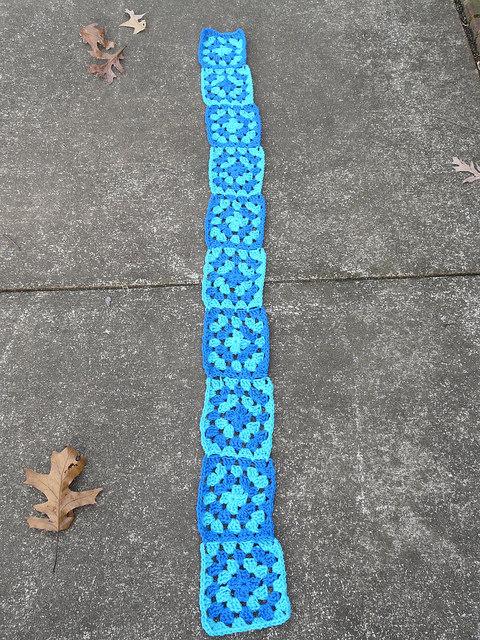 crochetbug, special olympics, crochet scarf, granny square scarf, crochet squares, granny squares, blue