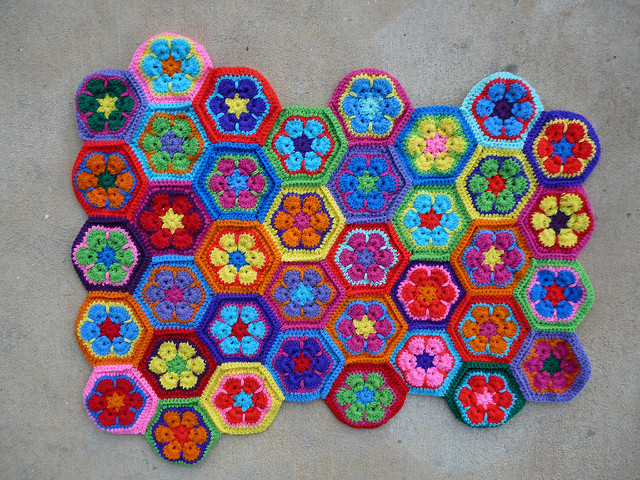crochet hexagons for a crochet bag
