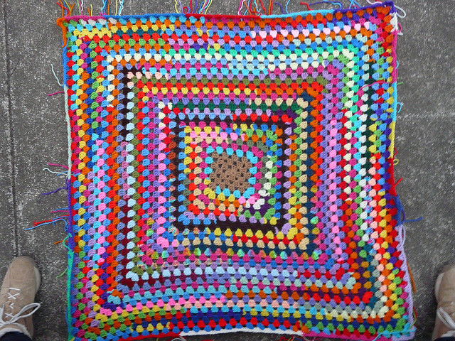 While waiting for snow, my great-granny square grows larger
