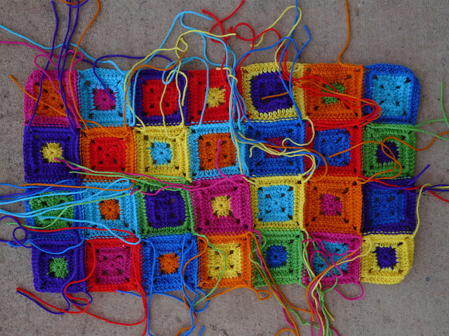 crochet square granny square cat runner
