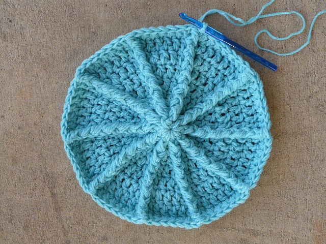 The first eight rounds of Eileen Tepper's crochet newsboy hat in Tiffany Blue