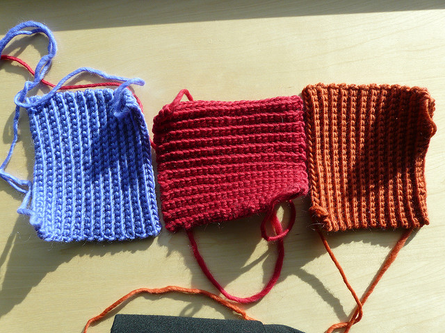 three crochet squares