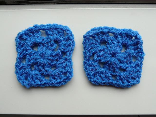 two blue crochet squares