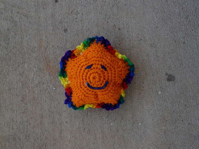 crochetbug, crochet star, amigurumi star, orange, crochet swap