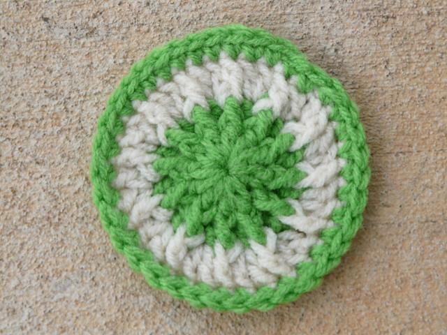 green crochet scrubbie dot tawashi