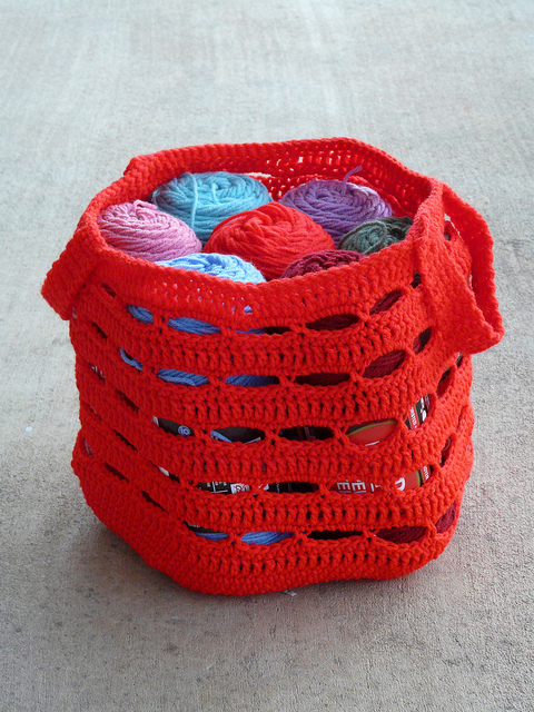 red yarn stash crochet bag