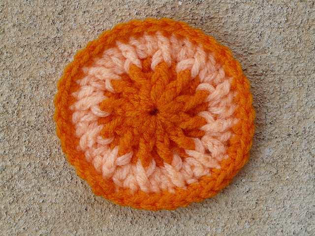 orange crochet scrubbie dot tawashi