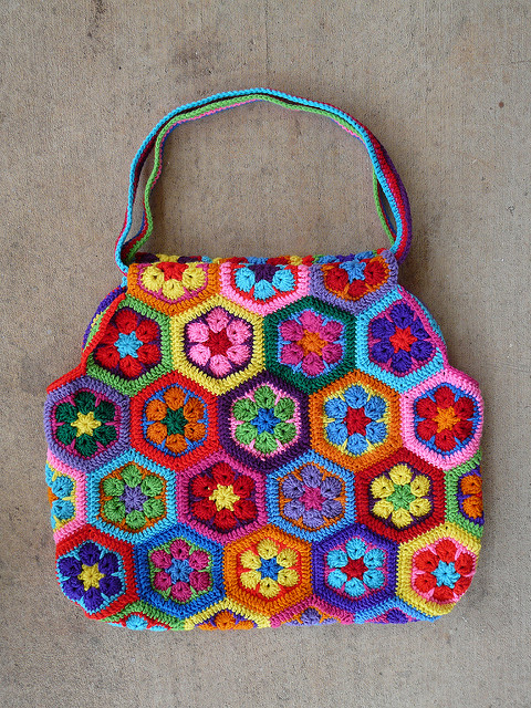crochet hexagon crochet tote, crochetbug, crochet bag, crochet flowers, crochet hexagons