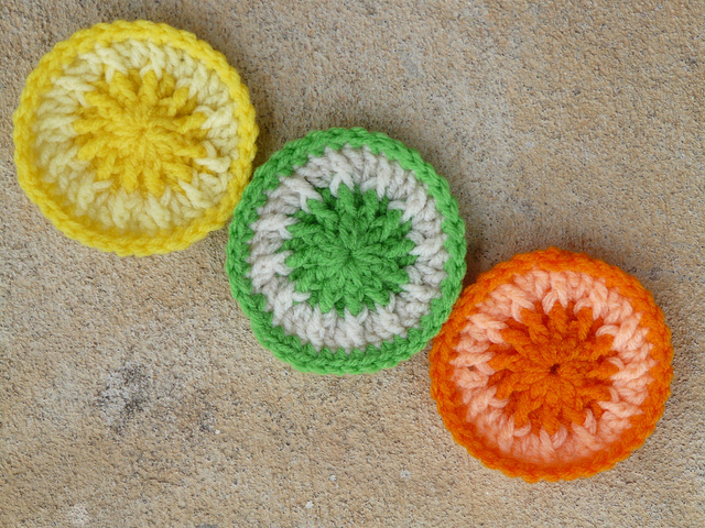three crochet scrubbie dots tawashi