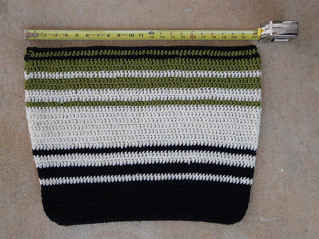 A wool crochet bag 22 inches wide before felting