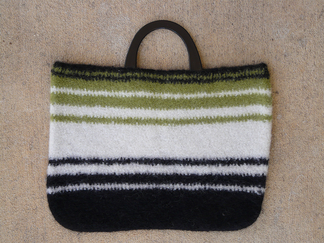 Andrea the yarn whisperer and her first felted wool crochet bag