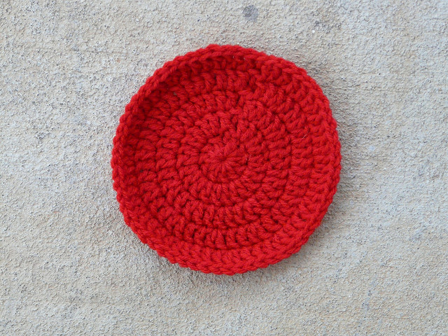 cherry red crochet circle or crochet dot