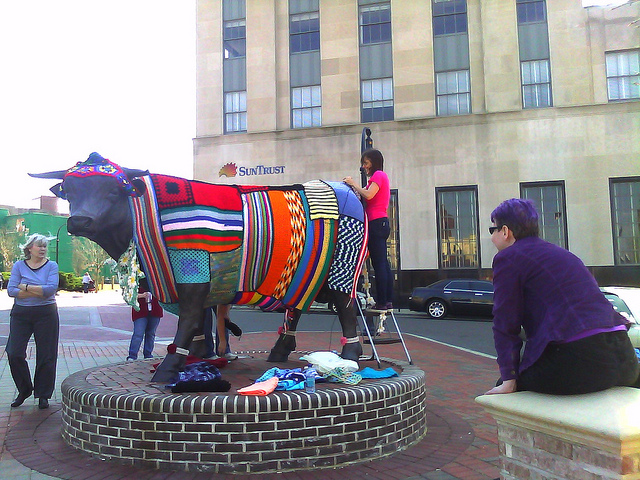 crochetbug, crochet, yarn bomb, durham, north carolina, durham bull, downtown durham