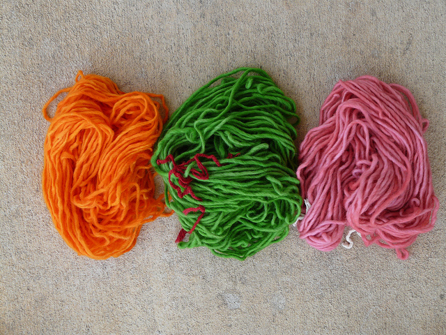 yarn after Kool-Aid dyeing