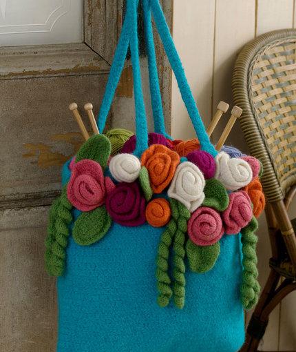 crochet rose garden tote by michele wilcox