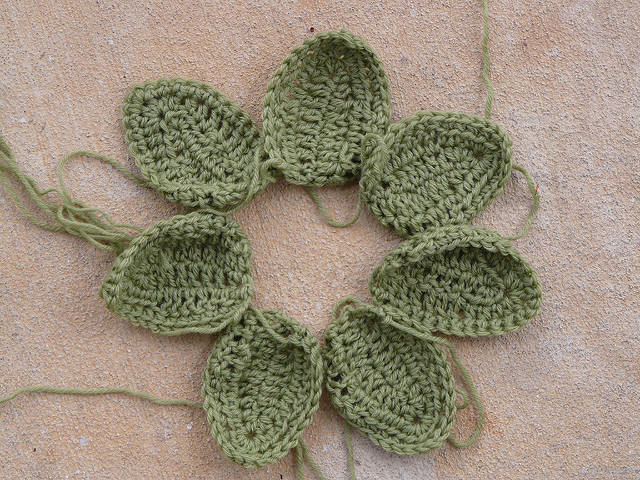 wool crochet leaves