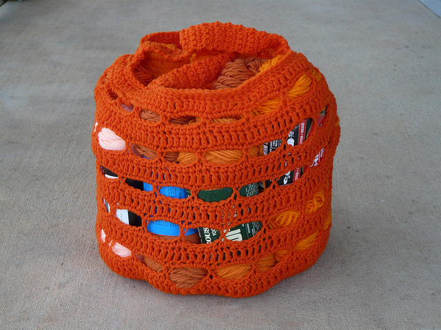 crochetbug, crochet basket, crochet bag, crochet tote, vintage yarn, yarn stash, vintage orange