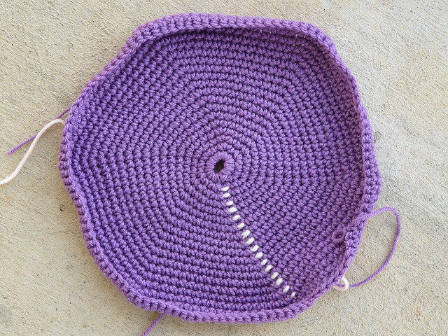 a crochet hexagon bottom of a future crochet bag