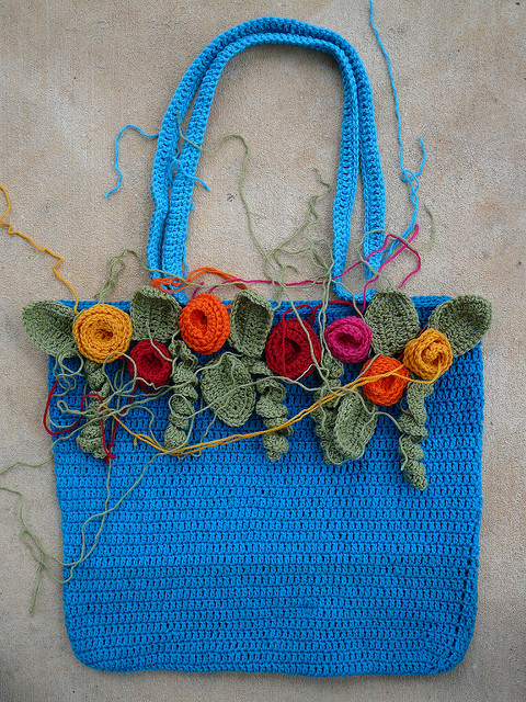 rose festooned crochet tote