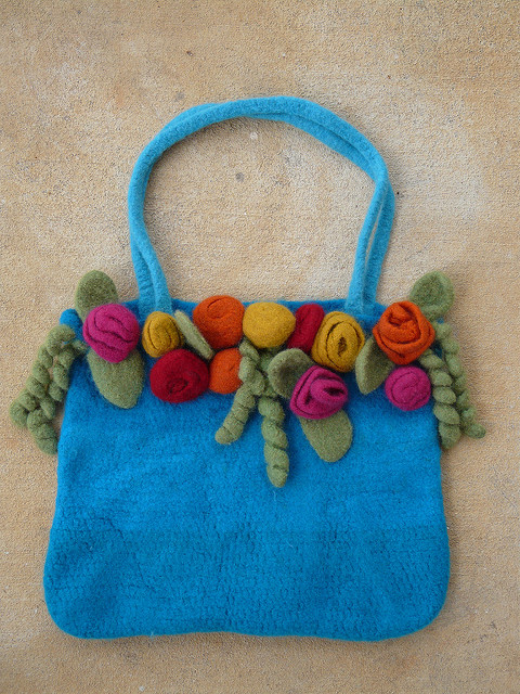 The finished felted crochet tote I made by making do
