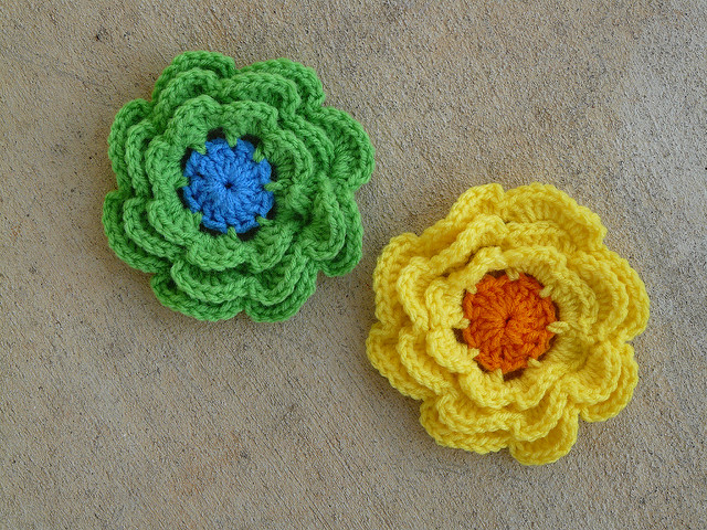 two crochet flowers
