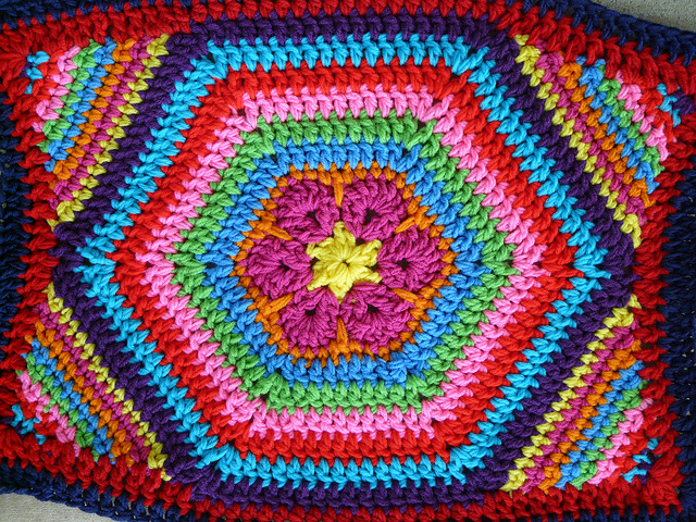 Detail of the African flower crochet hexagon pet mat