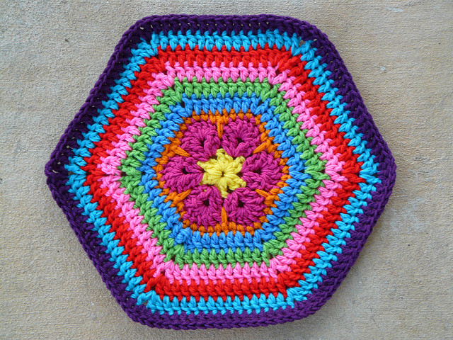 an african flower crochet hexagon pet mat