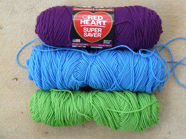 purple yarn, blue yarn, green yarn