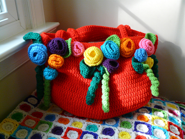 My new crochet rose tote sunning itself on this Valentine's day round up 2012