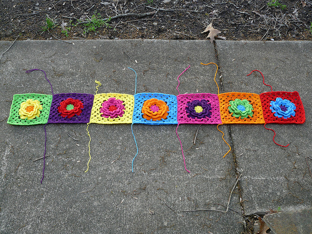 Bright color granny squares with a flower center