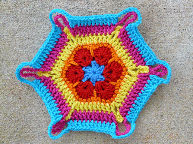 African flower crochet hexagon variation