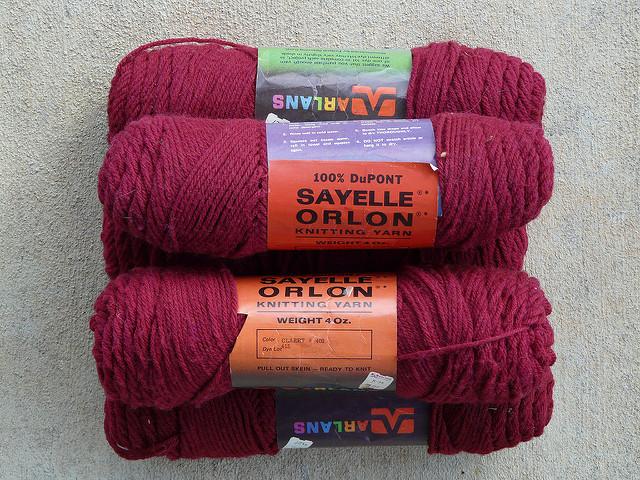 burgundy acrylic vintage yarn