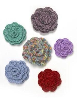 crochetbug, crochet roses, crochet rosette, lion brand, free pattern