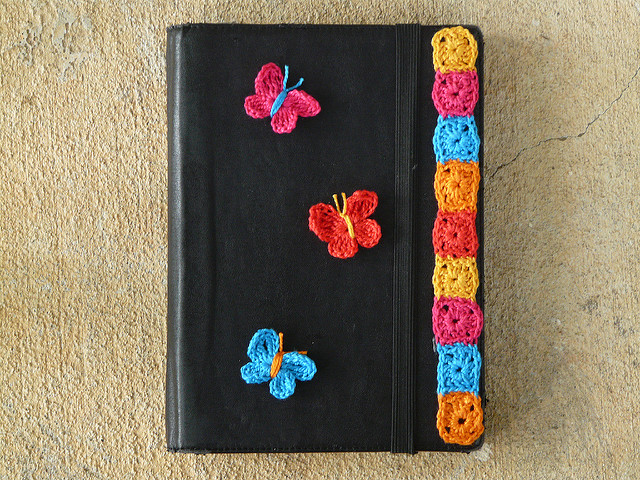 crochetbug, kindle, crochet applique, crochet butterflies, crochet granny squares