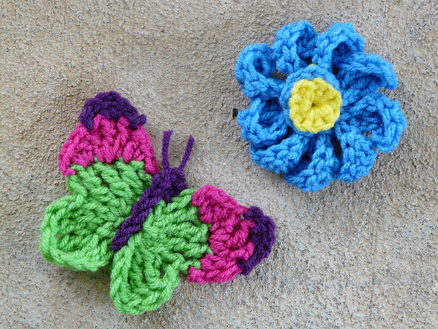 crochet butterfly and flower