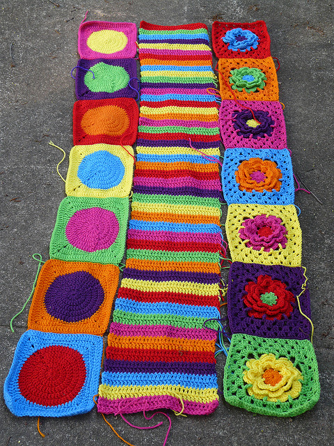 Getting into the groovyghan groove with crochet dots, crochet stripes, and crochet flowers