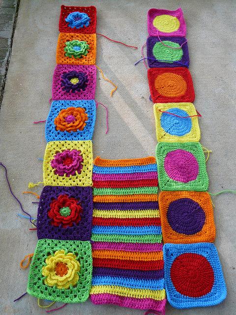 crochet pieces of a crochet blanket