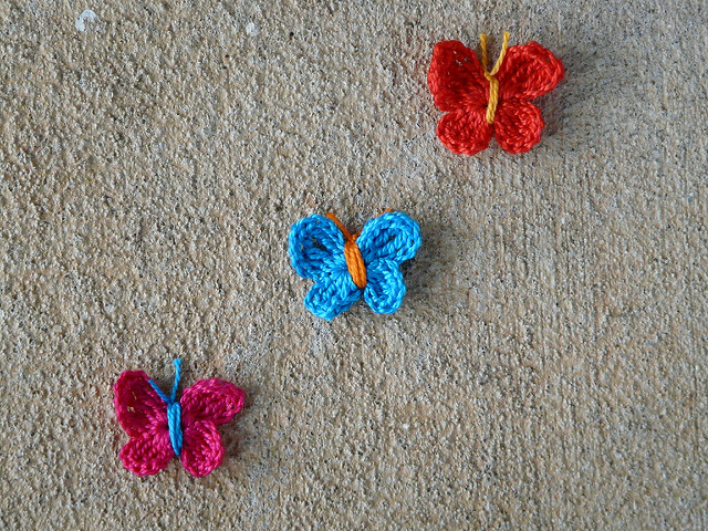 Three crochet butterflies