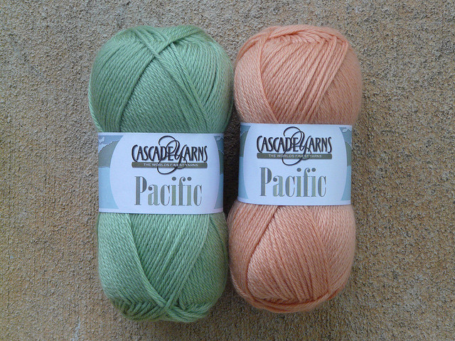light green and light orange yarn