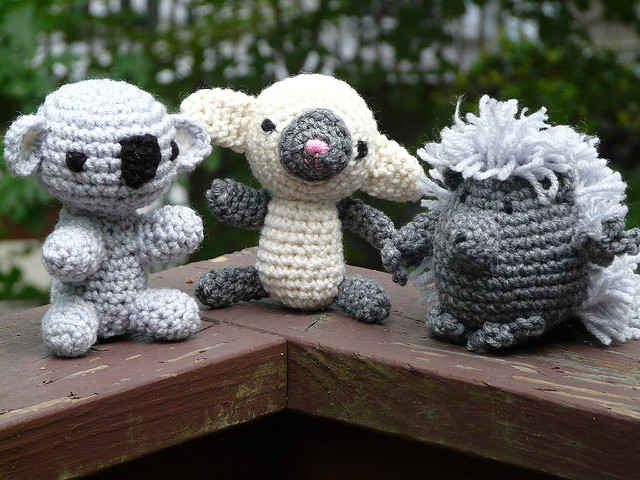 crochet koala crochet lamb and crochet porcupine
