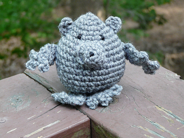 an amigurumi porcupine in need of quills