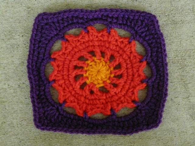 Square 25 crochet square with crochet circle center