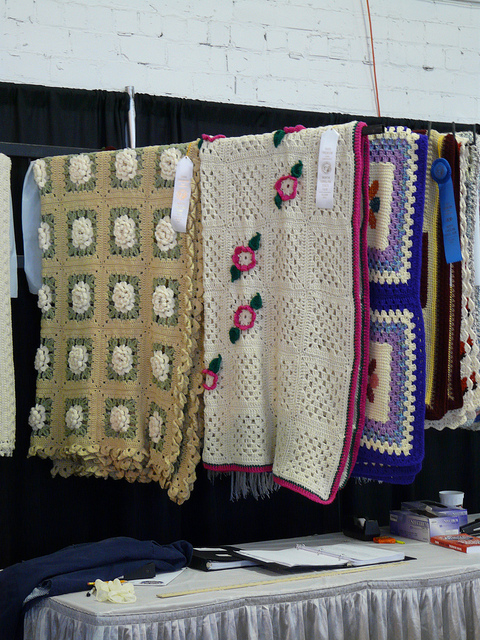 crochetbug, 2010 North Carolina State Fair, prize winning afghan, crochet flowers, floral crochet motifs