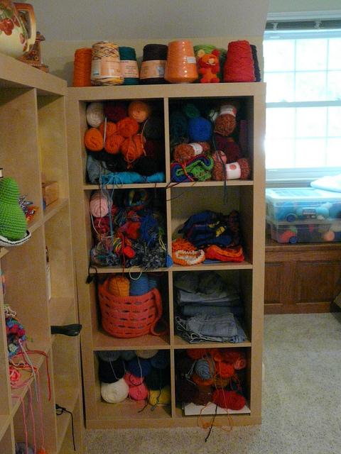 ikea expedit cubbies, crochetbug, crochet storage, crochet organizer