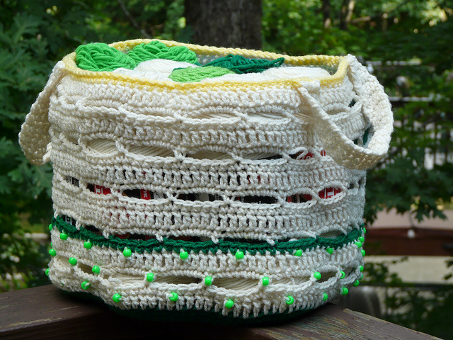 crochetbug, crochet basket, crochet bag, crochet stash basket, crochet stash bag, krispy kreme, coffee cup