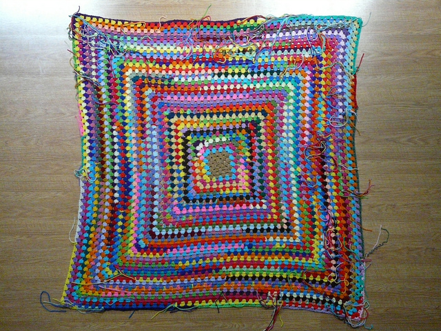 crochetbug, scrap yarn granny square, scrap yarn aesthetic, use what you have, granny squares rock